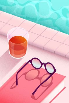 Deanna Halsall, a textural illustration of a poolside with a beachy colour palette, a pair of spectacles laid on a pink book and an orange drink in a glass Illustration Courses, Love Illustration, Digital Illustration, Design Ios, Vector Design, Affinity Designer, Beach Drawing, Grafik Design, Design Thinking