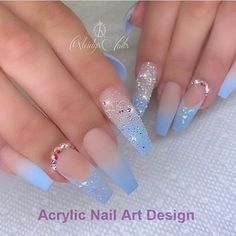 The Most Popular Nail Designs for Coffin Nails - Coffin Nails - . - the most popular nail design for coffin nails – coffin nails – - Blue Acrylic Nails, Summer Acrylic Nails, Marble Nails, Summer Nails, Blue Ombre Nails, Light Blue Nails, Metallic Nails, Pink Nail, Glitter Nails