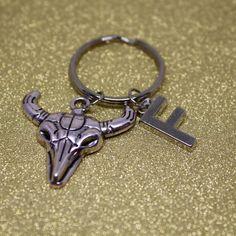 Bull Skull keychain initial keychain silver bull by AgouraDesign