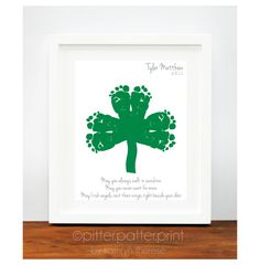 St Patricks Day Baby Footprint Shamrock - Irish Blessing for Baby - Personalized Ireland Art Print - Green St Patricks Day Decoration