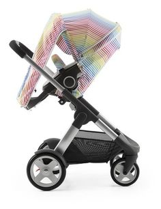 Stokke® Crusi™ with Stokke® Stroller Seat and Multi Stripe Summer Kit