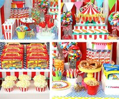 Food table from a Yummy Greatest Showman Party Food Ideas via Kara's Party Ideas