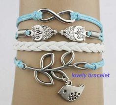 infinite bracelet owls bracelet leavesbaby bird by lovelybracelet, $5.99