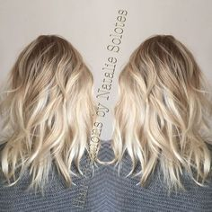 Baby blonde icy balayage colormelt color transition rooted dimensional dimension frozen cool toned ash beige hair painting freelights L'Anza cream decolorizer l'Anza love sombre sexy waves curling wand undone lived in hair shoulder length hair grown out l