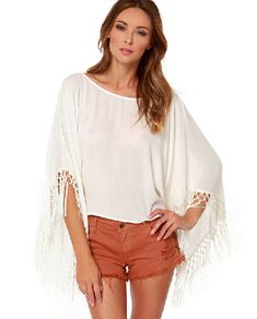 Feminine Blouses Women Tops O-Neck White Blouse Shirt Kimono Batwing Sleeve Sides Hem Tassel Chiffon Loose Blusa Feminina 739 Like and Share if you agree! Visit us
