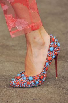 Christian Siriano Colorful Red & Turquoise - -- 35 High Fashion Heels On The Street - Style Estate -