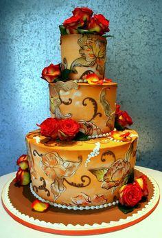 Golden Filigree by Rosebud Cakes Gorgeous Cakes, Pretty Cakes, Amazing Cakes, Fall Wedding Cakes, Wedding Cake Designs, Autumn Wedding, Unique Cakes, Creative Cakes, Cupcakes