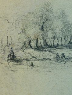 "COURBET Gustave - Homme couché, Paysage, Figure, Etudes (drawing, dessin, disegno-Louvre RF29234.21) - Detail 48  -  TAGS / details détail détails detalles croquis Study studies sketch sketches Museum Paris France figures personnes people pose model man men hommes portrait portraits face faces visage ""young man"" ""young men"" allongé elongated rest repos pipe smoke smoking fumeur fumer trees arbres paysage landscape nature casquette hat chapeau cap"