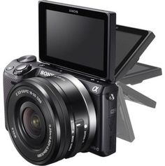 Shop Sony Compact System Camera with Zoom Lens MP, 180 Degrees Tiltable LCD, Wi-Fi and NFC ) - Black. Sony Camera, Best Camera, Canon Cameras, Cheap Cameras, Camera Tips, Nikon Dslr, Canon Lens, Film Camera, Camera With Flip Screen