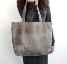 Valentines day sale Oversize everyday grey distressed leather tote bag , BarLeather by BarLeather on Etsy https://www.etsy.com/il-en/shop/BarLeather