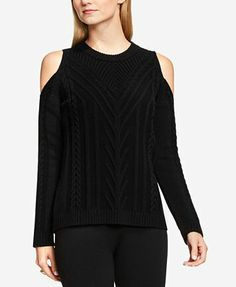 Vince Camuto Cold-Shoulder Cable-Knit Sweater - Black S Cable Knit Sweaters, Black Sweaters, Sweaters For Women, Cold Shoulder, Lord & Taylor, Vince Camuto, Pullover, Knitting, Tricot