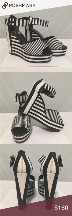 👡PIERRE HARDY Black & White Striped Wedge Heels👡 In good condition. 