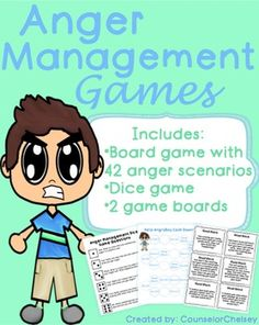 Students will learn anger management skills such as identifying triggers and how they can handle anger in real life scenarios.  Includes a board game with 42 anger role play cards, and a dice game with 6 anger management discussion prompts.  For more information, check out the preview!This resource is part of an anger management bundle!