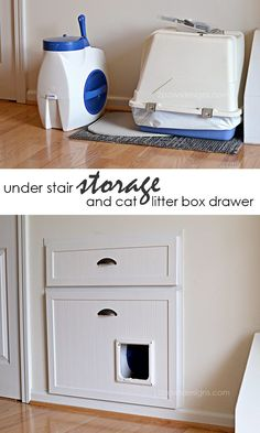 Reclaim unused space beneath your stairs and hide away the cat litter box with this clever DIY project. Store the litter box and Litter Locker out of view, but still easily accessible by your cat and for cleaning.
