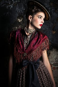 Lena-Hoschek Dirndl couture, Austria. I could do this, print apron, my own shawl and hat. Love this look!