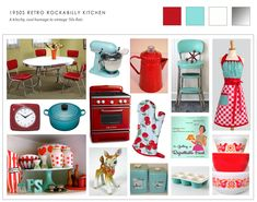 The key to a retro room like this is kitsch, and copious amounts thereof. Cherry red meets chrome and turquoise at every turn, with twee nick-knacks and unexpected bits of awesomeness.