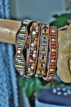 FLOWER OPAL 4 Wrap Leather Bracelet featuring Old World Picasso Czech Bugles/Seed Beads, Brass Half Tilas, Flower Button
