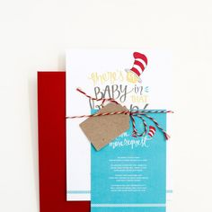 NU CREATIVE Baby Shower Cat in the Hat Inspired Invitation
