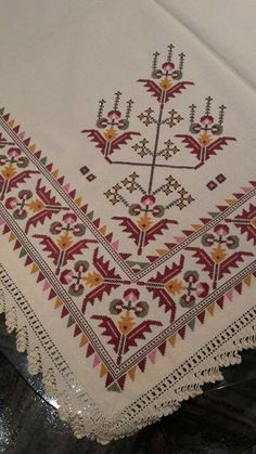 This crochet ripple afghan has Beaded Cross Stitch, Cross Stitch Borders, Cross Stitch Designs, Cross Stitching, Cross Stitch Embroidery, Cross Stitch Patterns, Embroidery Monogram, Hand Embroidery, Embroidery Patterns Free