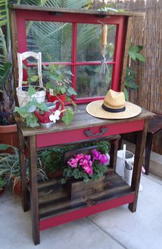 Vintage Window Potting Table                                                                                                                                                                                 More Potting Sheds, Potting Benches, Garden Sheds, Garden Art, Home And Garden, Lawn And Garden, Vintage Gardening, Gardening Books, Gardening Tips