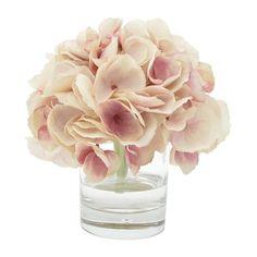Small Pink Hydrangeas in Glass Vase