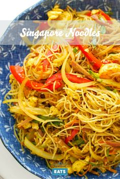 Curry-flavored rice noodles aka Singapore Noodles