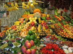 Indoor market selling fruit, just off La Rambla, Spain, most amazing market I have ever seen