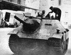 "Hetzer named ""Chwat"", captured by polish Home Army - Warsaw Uprising, 1944"