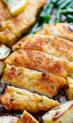 Crispy sheet pan lemon parmesan garlic chicken & veggies (milanese) http:/ Turkey Recipes, Dinner Recipes, Dinner Ideas, Turkey Dishes, Dessert Recipes, Desserts, Cooking Recipes, Healthy Recipes, Pan Cooking