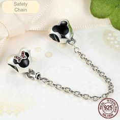 New 925 Sterling Silver Cartoon Minnie & Miky Safety Chain Charm Fit Original Pandora Bracelet Pendant Authentic Fine Jewelry Pandora Floating Locket, Fine Jewelry, Jewelry Making, Silver Gifts, Silver Bracelets, Charmed, Safety, Sterling Silver
