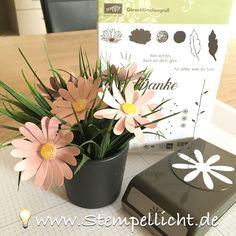 Stempellicht: Blume auf Spieß :o) mit Gänseblümchengruß