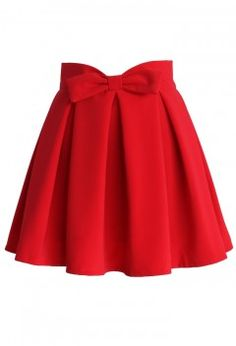 Sweet Your Heart Bowknot Pleated Skirt in Ruby - CHICWISH SKIRT COLLECTION - Skirt - Bottoms - Retro, Indie and Unique Fashion