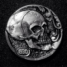"Hobo Nickel ""Fortune Skull"". Hand Carved By Robert Morris OHNS 