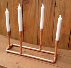 Industrial Design Repurposed Copper Metal Pipe by MacAndLexie Copper Candle Holders, Candlestick Holders, Candlesticks, Metal Pipe, Copper Pipes, Copper Metal, Thanksgiving Centerpieces, Christmas Tea, Chandelier