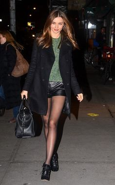 Givenchy coat and bag, Acne knit, Alexander Wang leather shorts, Tabitha Simmons ankle boots.