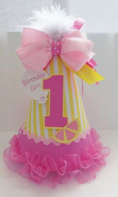 Pink Lemonade Yellow Striped Birthday Party by SandysSpecialtyShop