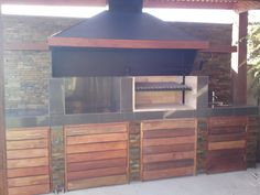 PERGOLAS Y QUINCHOS Backyard Kitchen, Outdoor Kitchen Design, Patio Design, Blessed Mother, Bbq, Garage Doors, Shed, Outdoor Structures, Outdoor Decor