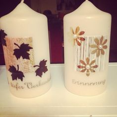 Trauerkerzen Scentsy, Natural Candles, Pillar Candles, Homemade, Petra, Candles, Decorated Candles, Homemade Candles, Candle Art