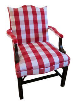 Primitive Furniture- Hancock and Moore Martha Washington in Red Check Decor, Furniture, Colonial Furniture, Chair, Home Decor, Upholstery, Primitive Furniture, Furnishings, Red Decor