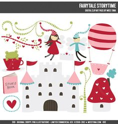 Fairytale Storytime Digital Clipart Clip Art Illustrations - instant download - limited commercial use ok