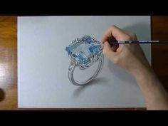 How I draw an aquamarine ring!