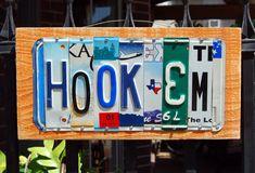 HOOK'EM / UT - custom made University of Texas Longhorn license plate sign
