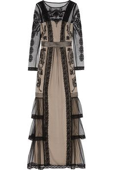 ALICE by Temperley Botanical lace-trimmed embroidered tulle gown