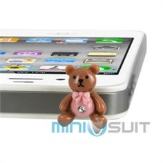 Hello there you cute cell phone charm! This Teddy Bear earphone jack dust plug adorns your mobile phone, mp3 player, tablet, iPhone, iPad, iPod, iTouch, Nook, Kindle, Note, or any other mobile electronic device with a 3.5mm earphone jack (standard e