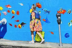 Women Walking Pass Fish Wall In The Tenderloin,  San Francisco By Mitchell Funk   www.mitchellfunk.com