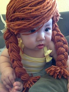 Cabbage patch yarn wig with braided pigtails