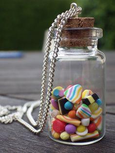 """Collier Sautoir fiole bonbons """"la p'tite gourmande"""""""