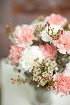 Pink and white carnations with wax flowers #weddingflowers