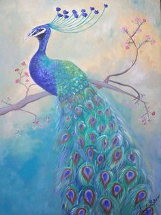 Peacock painting with acrylics on canvas  #painting #canvas #blue #peacock #bird #nature #acrylic
