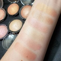 Swatches of all my ELF baked highlighters and blushes! Some of my favorite super glowy highlights. Top to bottom: Apricot Glow, Blush Gems, Pink Diamonds, Moonlight Pearl, Pinktastic, Peachy Cheeky